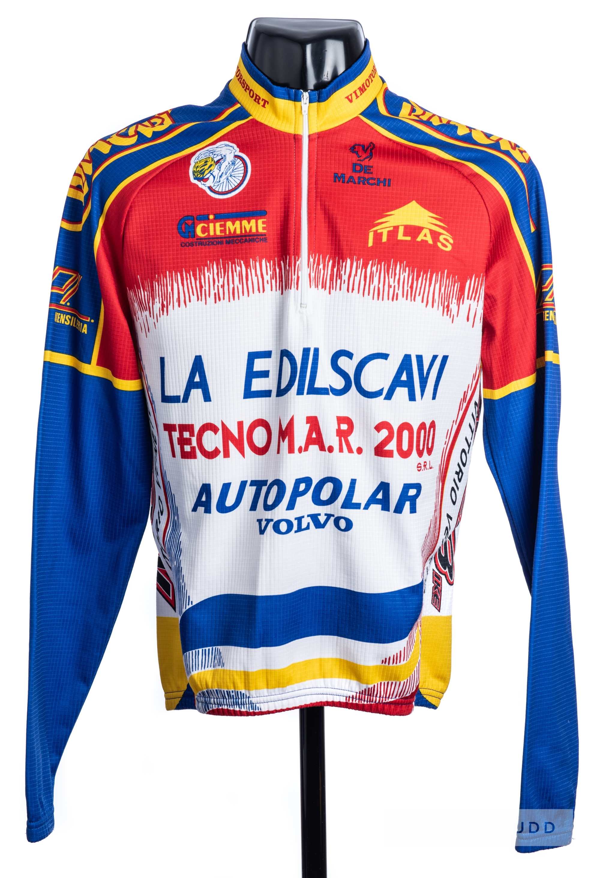2000 red, yellow, blue and white De Marchi Cycling race jersey, scarce, polyester long-sleeved - Image 3 of 4