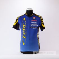 2005 black, blue and yellow Fehr Cycles Switzerland Cycling race jersey by Cuore, scarce,