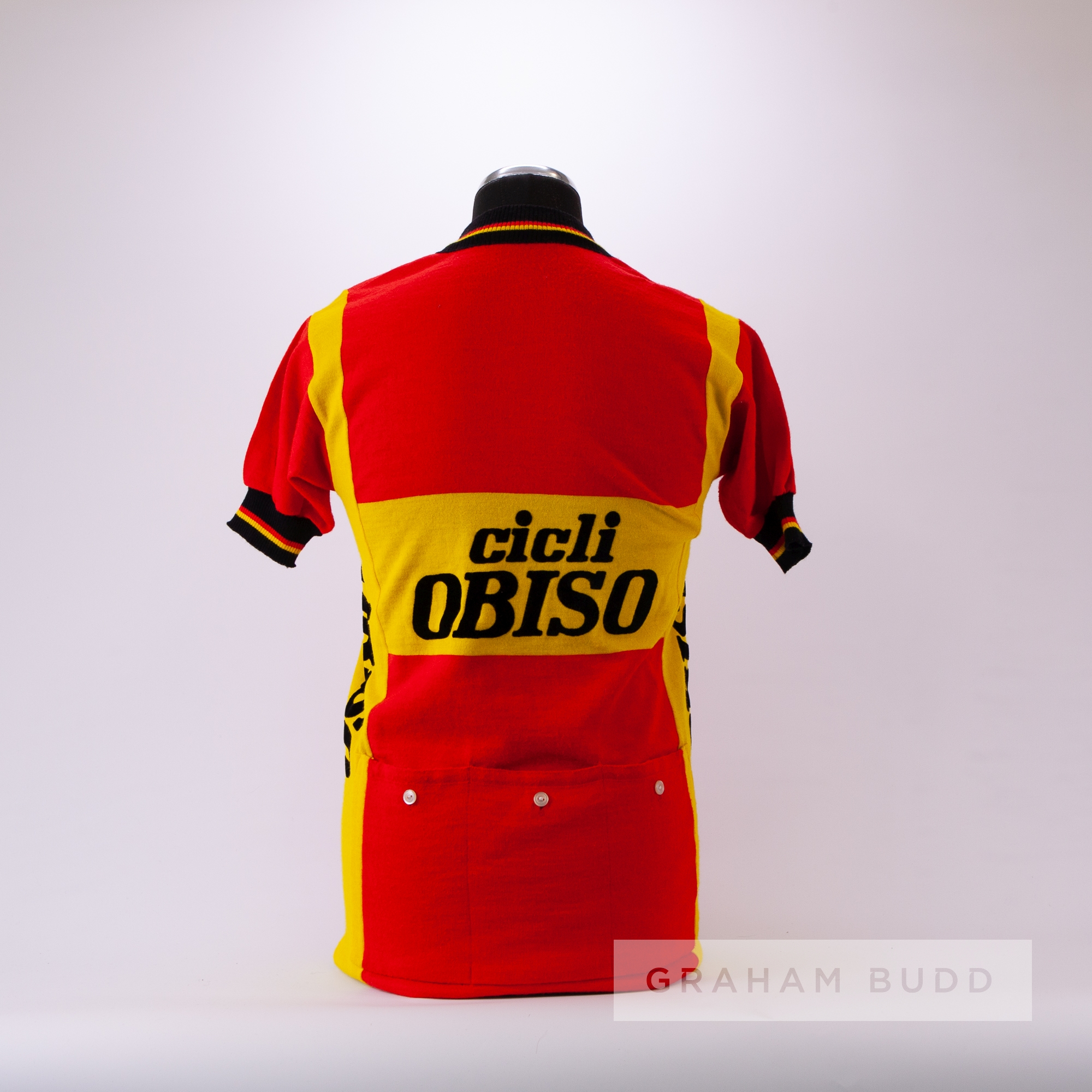 1973 red, yellow and black vintage Moa Sport Cicli Campagnolo Cycling jersey, scarce, wool and - Image 4 of 4