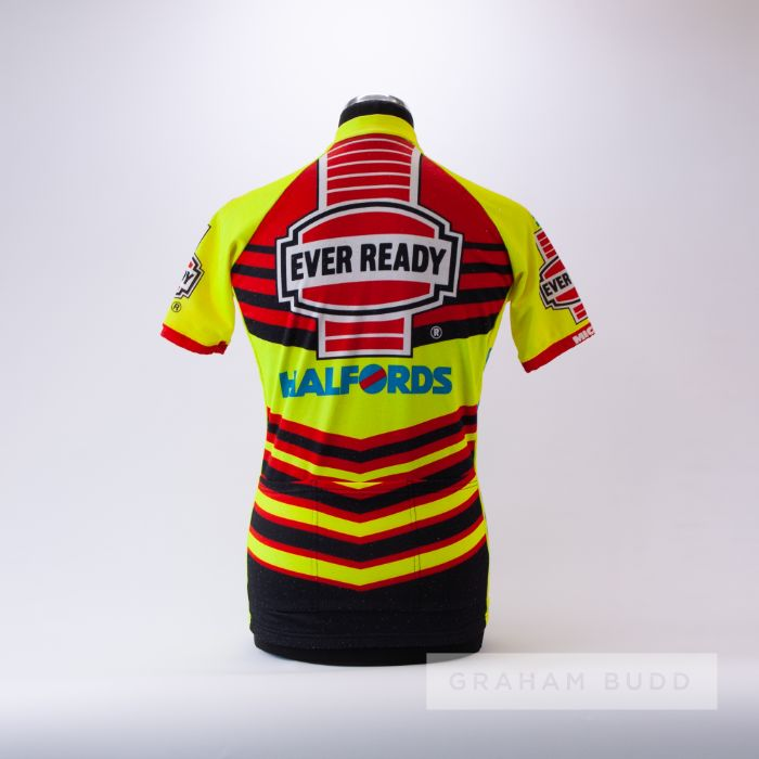1990 yellow, red and black Ever Ready Halfords Assos Cycling race jersey, scarce, polyester short- - Image 2 of 4