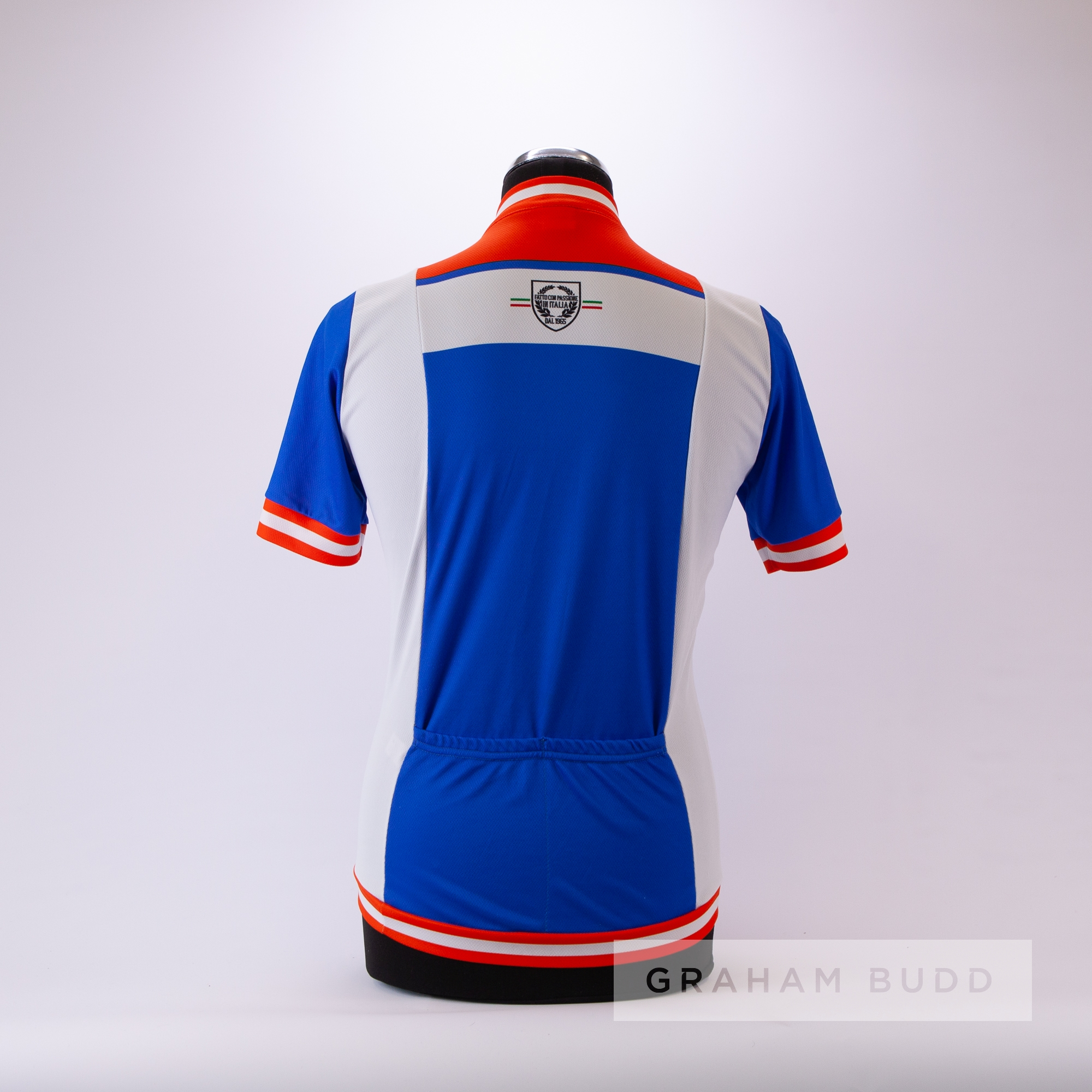 1970s blue, white and red Italian Santini replica Cycling race jersey, scarce, polyester short- - Image 4 of 4
