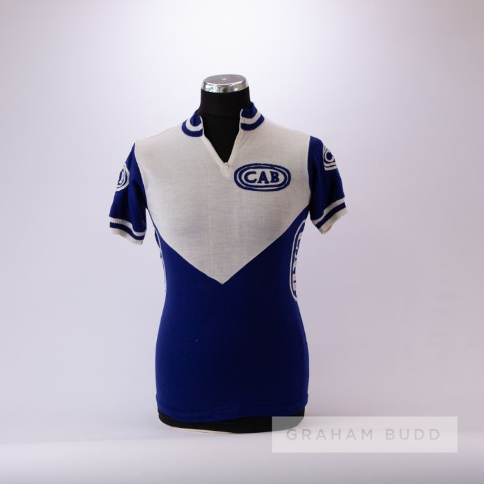 1978 white and blue vintage Italian Eroica Cycling team race/tour jersey, scarce, acrylic short-