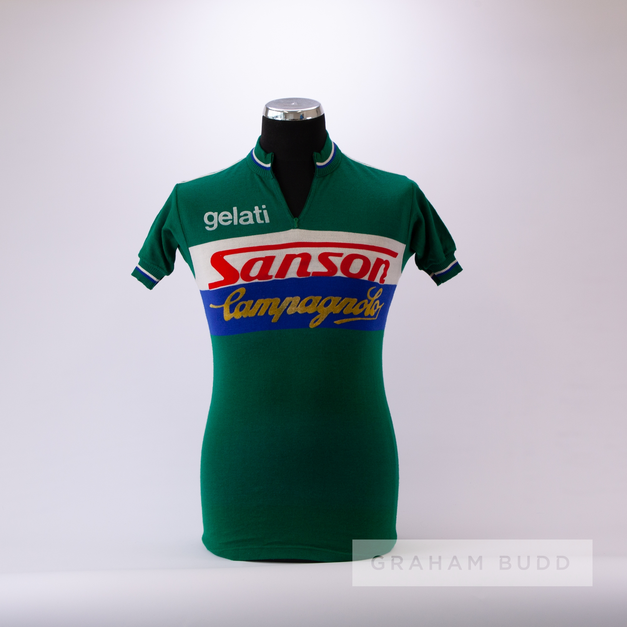 1970s green, white and blue vintage Sanson Campagnolo Cycling team race jersey, scarce, wool and - Image 3 of 4