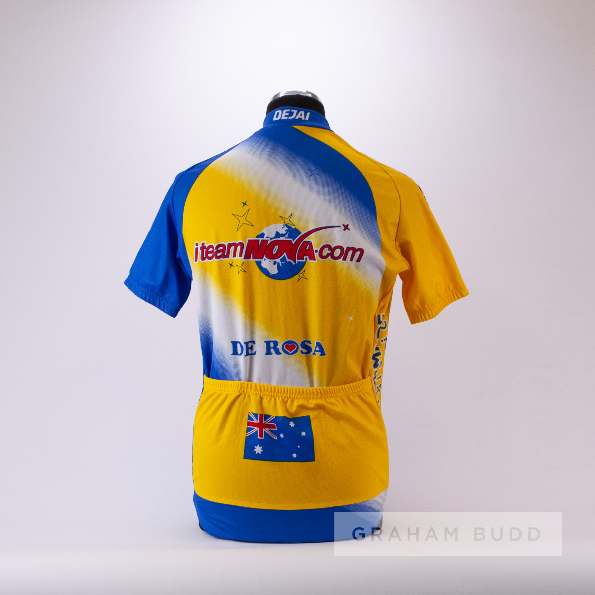 2002 blue, yellow and white i-Team Nova De RosaCycling race jersey, scarce, polyester short-sleeved - Image 4 of 4