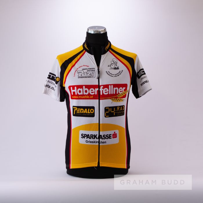 1992 white, black, red and gold Grieskirchen Radler Cycling road race jersey, scarce, polyester