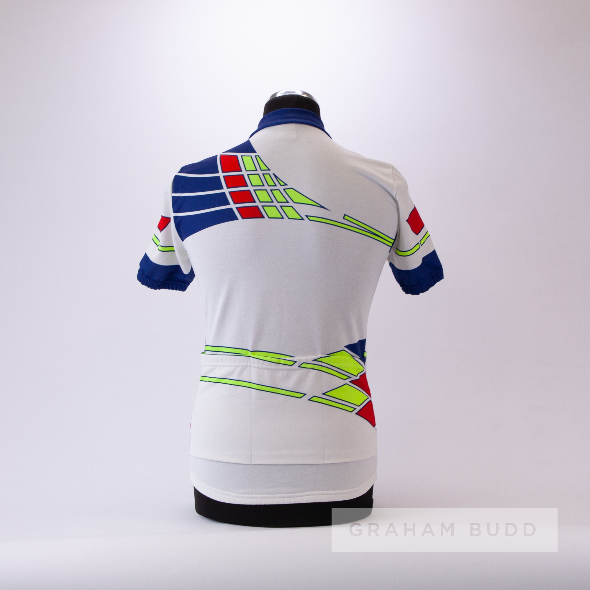 1986 white, navy, red and yellow Raleigh Cycling team race jersey, scarce, polyester short-sleeved - Image 4 of 4