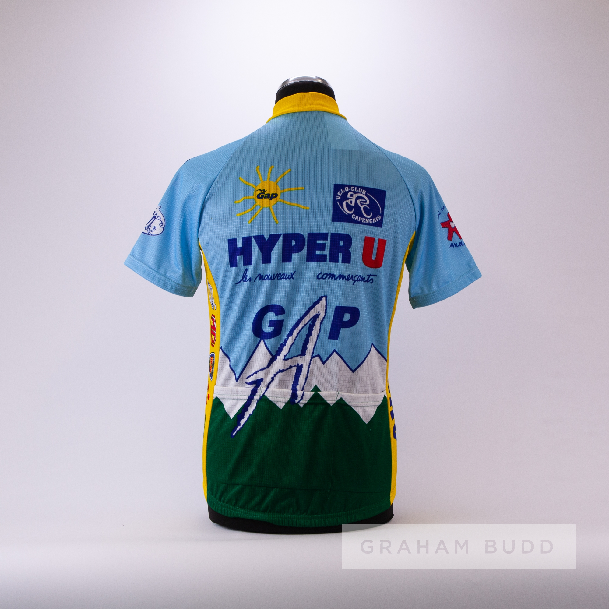 1991 blue, white, yellow and green French Hyper U Gap Cycling race jersey, scarce, polyester - Image 4 of 4