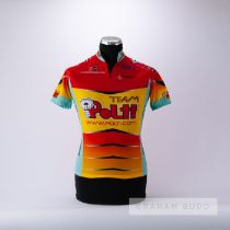 1994 red, yellow and aqua Italian Team Polti Vaporetto Cycling race jersey, scarce, polyester