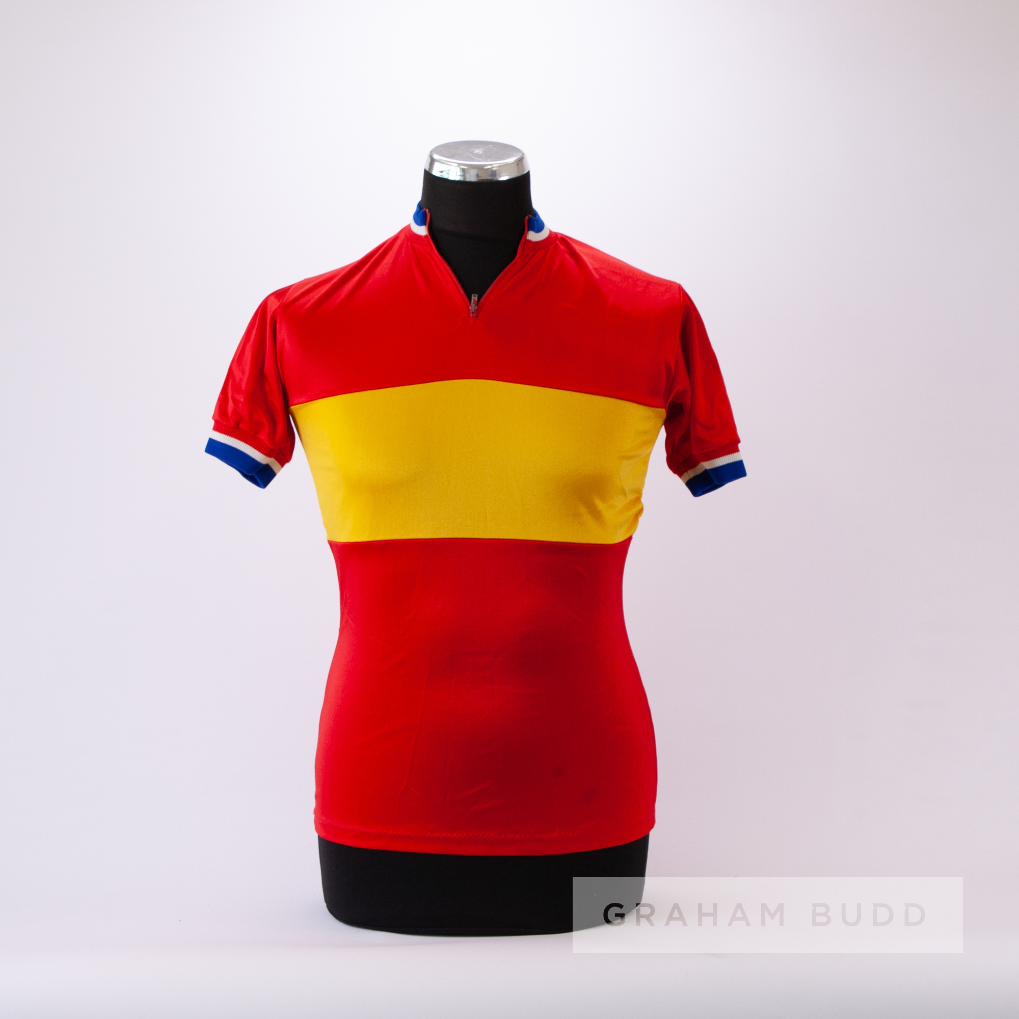 1971 red and yellow vintage Italian De Rigueur Cycling track and trial race jersey, scarce,