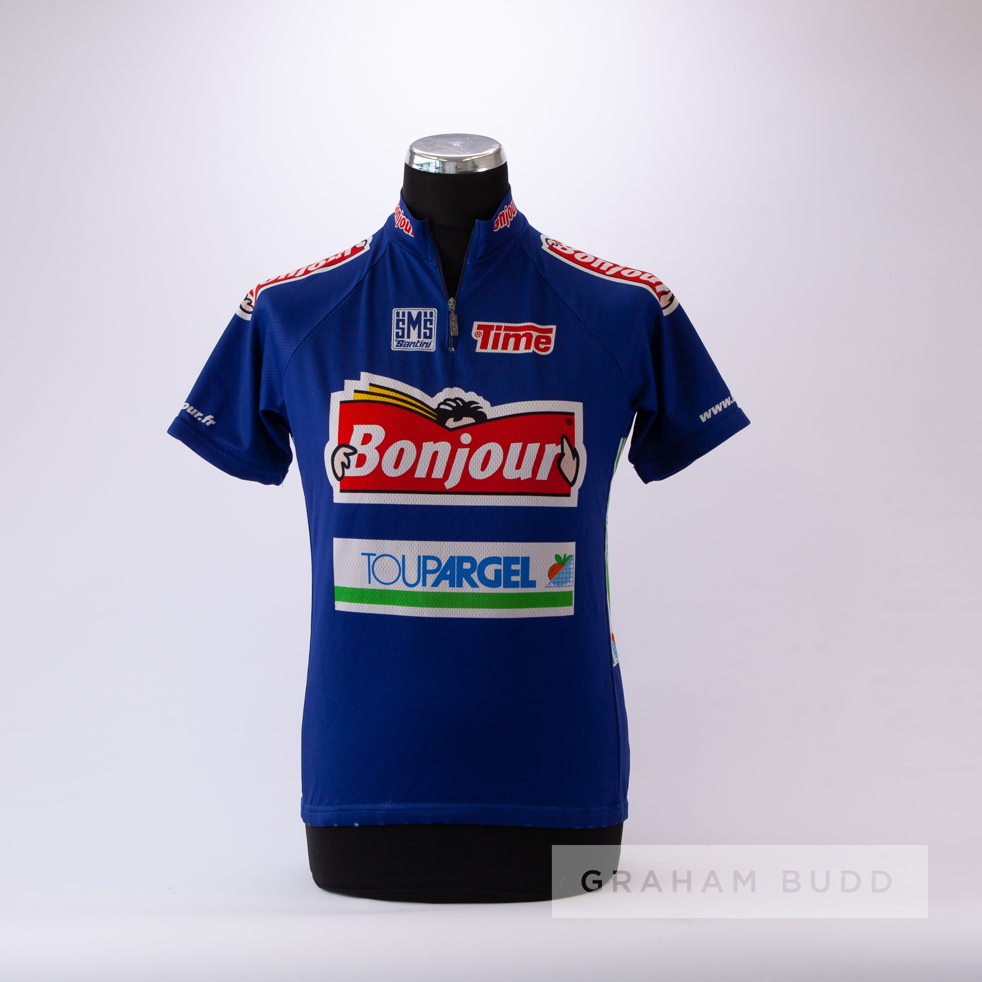 2001 navy, red and white Italian Santini Bonjour Cycling race jersey, scarce, polyester short- - Image 3 of 4