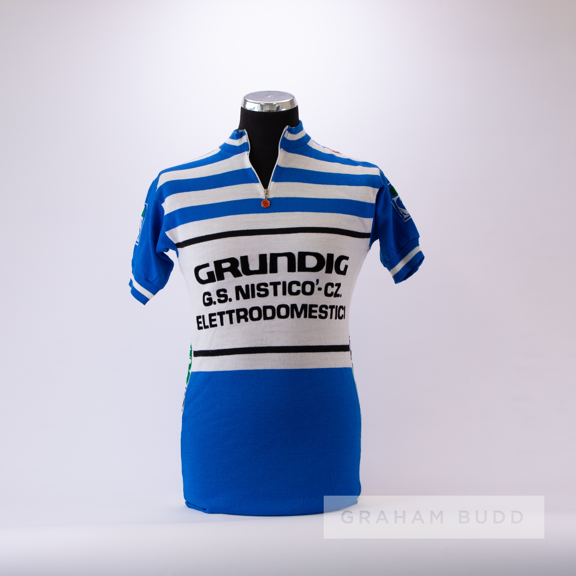 1960s blue and white vintage Castelli Grundig Cycling race jersey, scarce, wool and acrylic short-