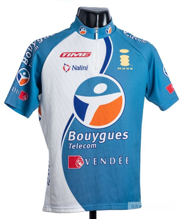 2005 blue, white, navy and orange Bouygues Telecom Vendee French Cycling team race jersey, scarce,