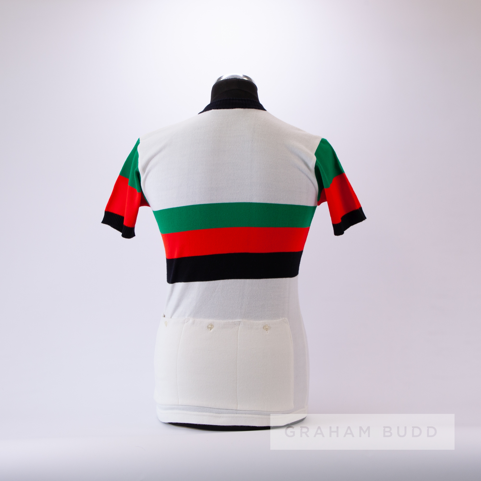 1970s white, green, red and black vintage Cycling race jersey by Maglifico Joli, scarce, acrylic - Image 4 of 4