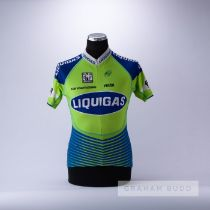 2016 green, navy and white Liquidgas Cannondale Santini Cycling team race jersey, scarce,