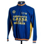 1972 blue, yellow and red vintage Delcroix Cycles Cycling race jersey, scarce, acrylic long-