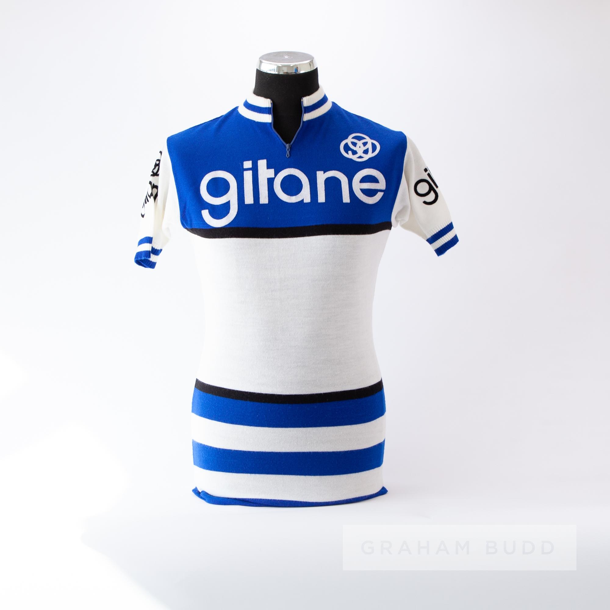 1970 blue, white and black vintage Tour de France French Gitane Team Cycling race jersey, scarce,