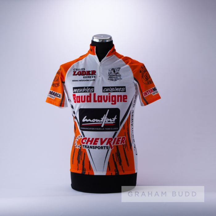 2004 orange, white and black French Cycling race jersey, scarce, polyester short-sleeved jersey with