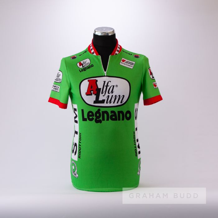 1988 green, white, red and black Italian Alfa Lum Legnano Cycling race jersey, scarce, polyester
