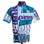 2010 blue, purple and turquoise limited edition Italian Biemme Sports Cycling race jersey,