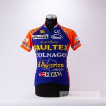 1998 orange, blue and yellow Paultex Colnago Tuscany Cycling team race jersey, scarce, polyester