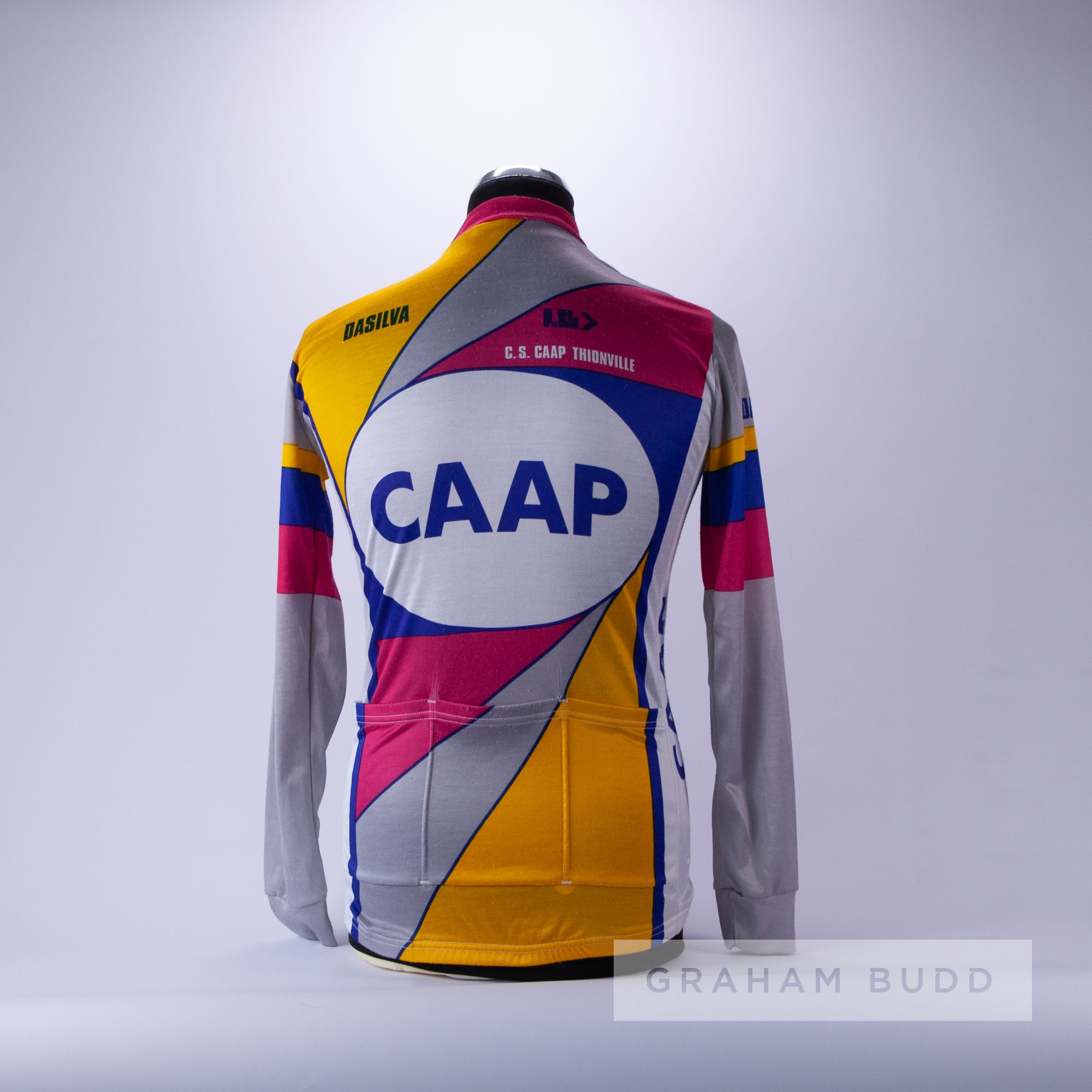 1980 pink, grey, yellow and blue Canadian CAAP Cycling race jersey, scarce, polyester long-sleeved - Image 2 of 2
