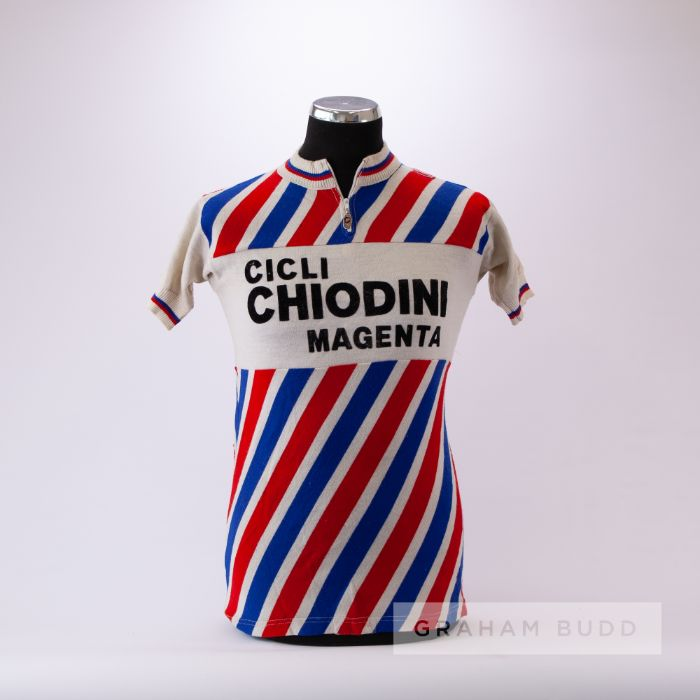1975 white, red and blue vintage Italian Castelli Cycling race jersey, scarce, wool and acrylic