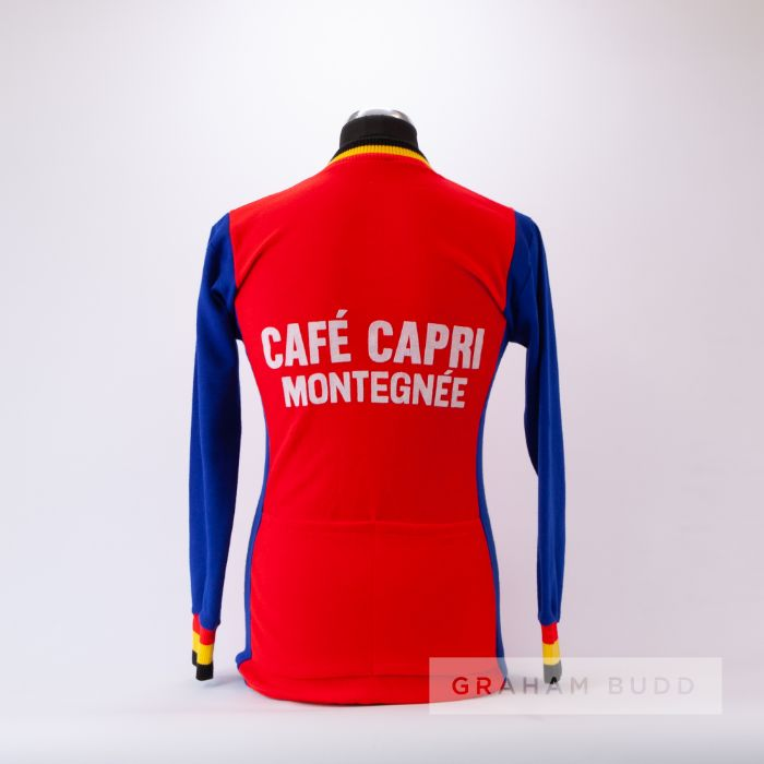 1972 red, blue, yellow and black vintage Pedale Montagnarde Cycling team race jersey, scarce, - Image 2 of 4
