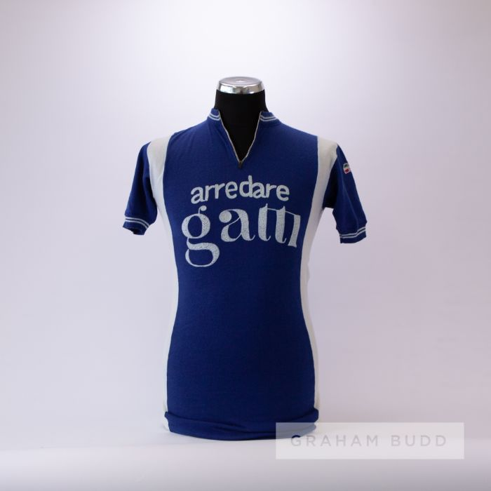 1979 blue and white vintage Italian Gianni Motta Eroica Cycling team race/tour jersey, scarce,