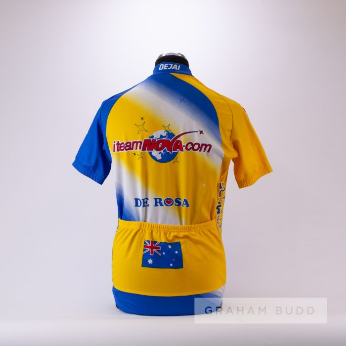 2002 blue, yellow and white i-Team Nova De RosaCycling race jersey, scarce, polyester short-sleeved - Image 2 of 4