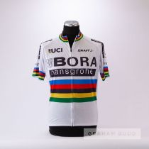 A white, red, blue, black, green and yellow Bora Hansgrove World Pro UCI World replica Cycling