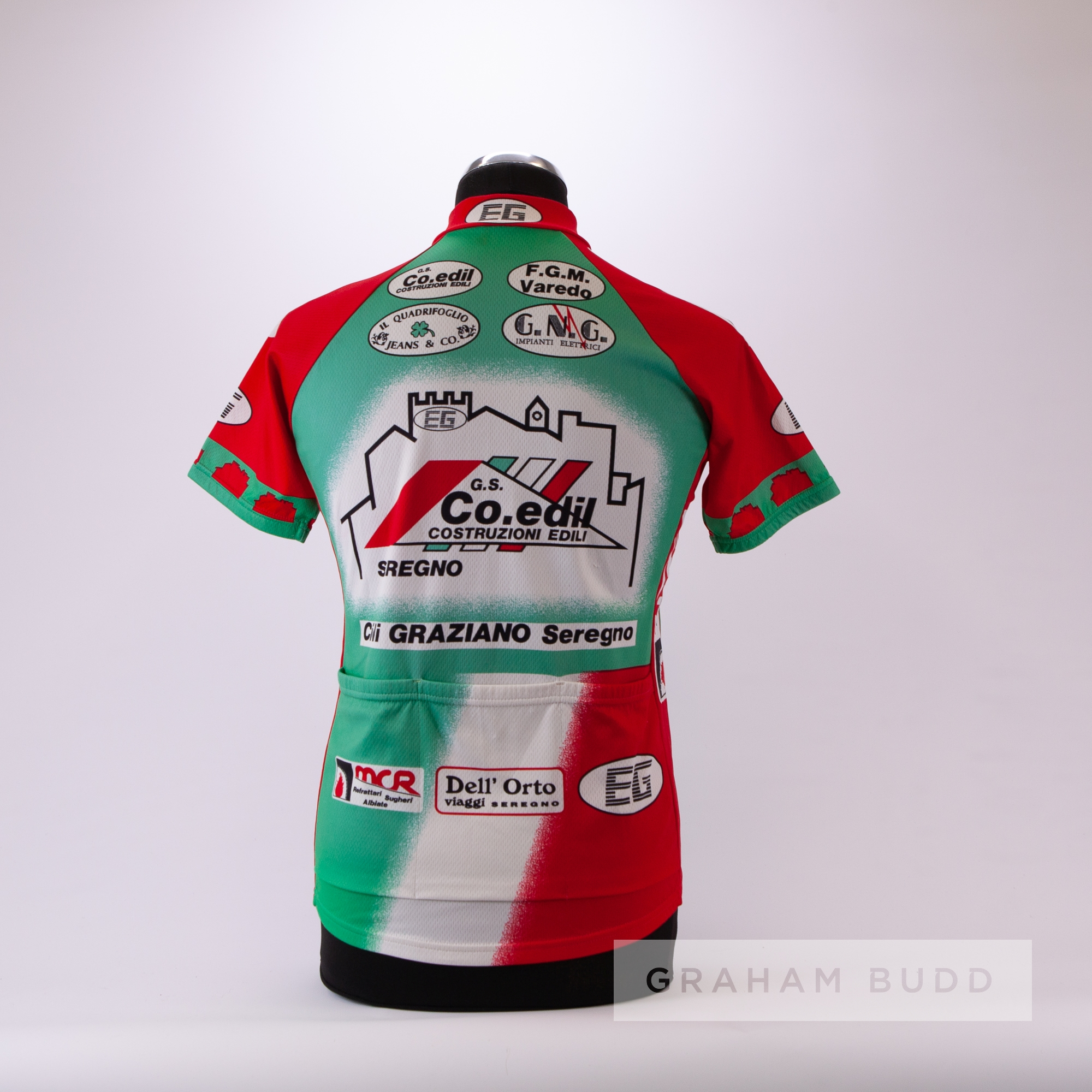 1998 red, green and white Italian Santini FGM Varedo Cycling race jersey, scarce, polyester and - Image 4 of 4