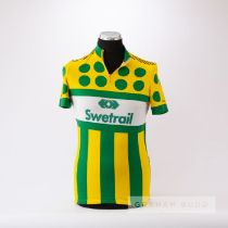 1980 green, yellow and white Swetrail Cycling race jersey, scarce, polyester short-sleeved jersey