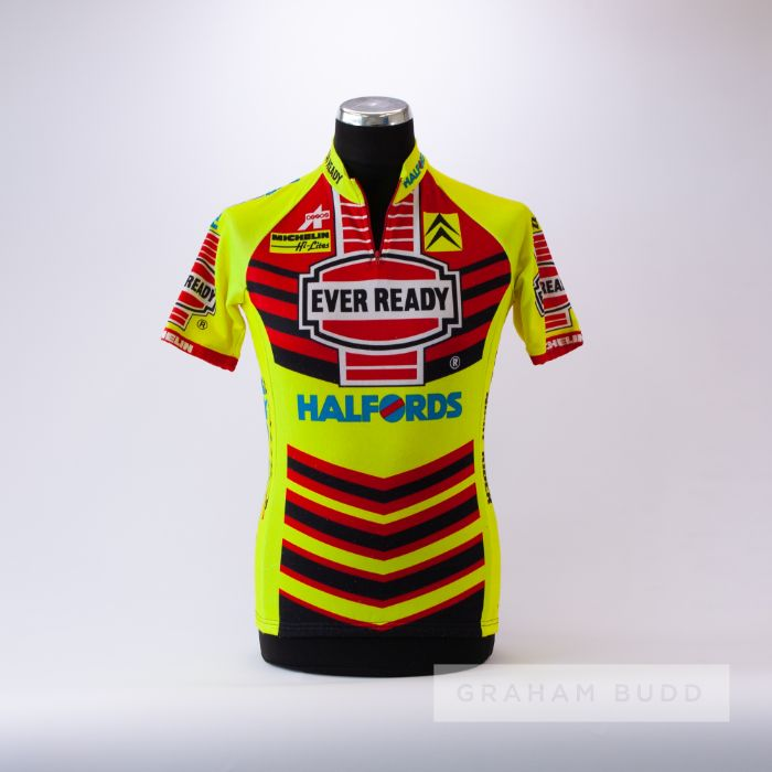 1990 yellow, red and black Ever Ready Halfords Assos Cycling race jersey, scarce, polyester short-