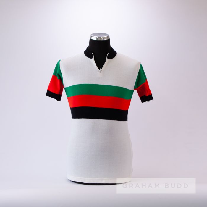 1970s white, green, red and black vintage Cycling race jersey by Maglifico Joli, scarce, acrylic