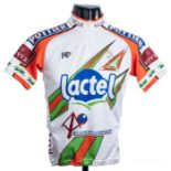 2000 white, blue, orange and green French Lactel Pottier Cycling race jersey, scarce, polyester