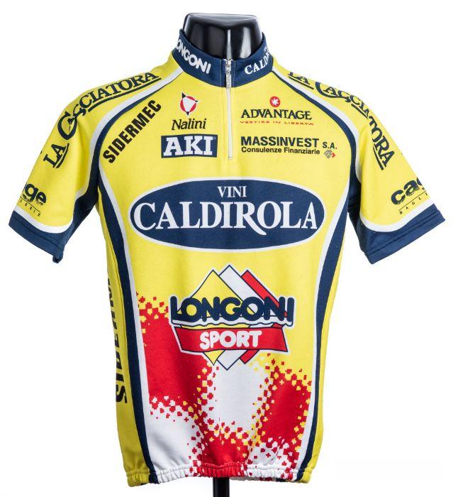 2000 yellow, navy, white and red Italian Vini Caldirola Sidermec Cycling team race jersey, scarce,