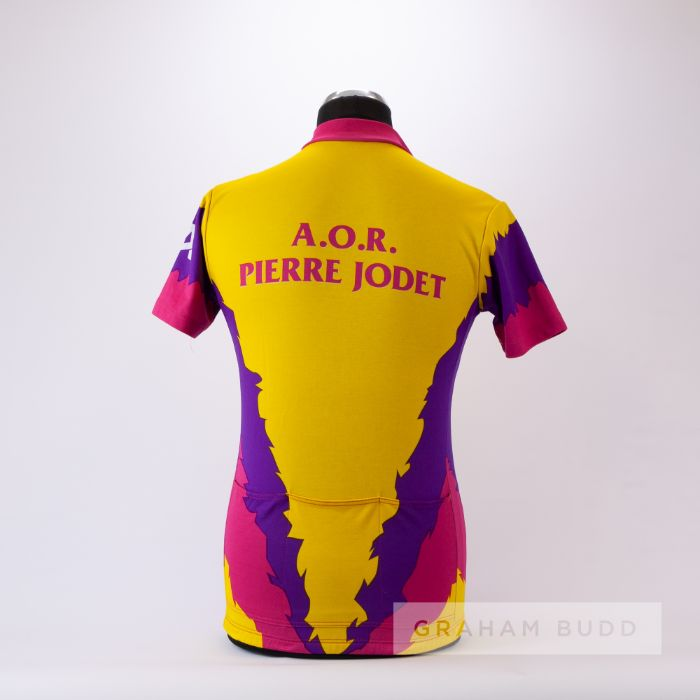 1982 yellow, pink and purple Cycling race jersey to celebrate the birthday of French cycle racer - Image 2 of 4
