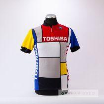 1985 red, white, black, blue and yellow Italian Santini Toshiba Piet Mondrian design Cycling race
