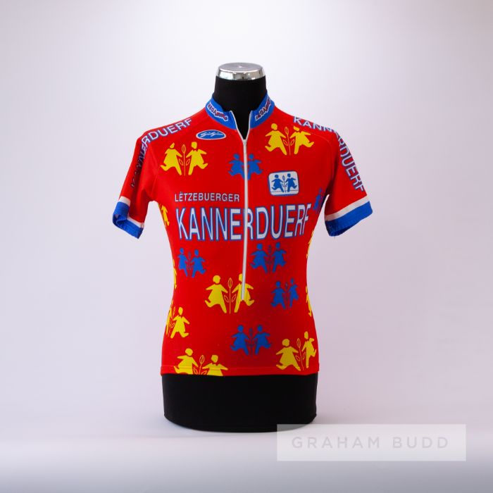 1985 orange, white, red and yellow Gigi Cycling team race jersey, scarce, polyester short-sleeved