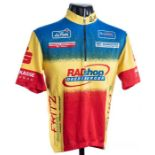 1985 yellow, blue and red LoffierCycling race jersey, scarce, polyester short-sleeved jersey with