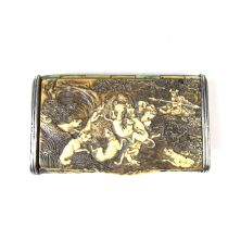 A carved stag antler snuff box, late 18th/19th century