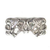 An American Art Nouveau silver clasp belt buckle