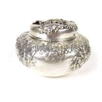 An American sterling silver tea caddy, late 19th/early 20th century