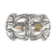 An Edwardian Liberty & Co Art Nouveau silver belt buckle