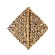 An ornate gilt metal and pearl belt clasp, 20th century
