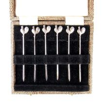 A set of six silver rooster cocktail sticks, 20th century