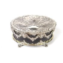 A Victorian silver mounted tortoiseshell dressing table casket