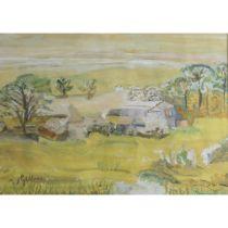 Gillies, William George 1898-1973 British AR, A Farm in early Mist