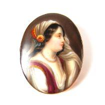 European miniature portrait brooch.