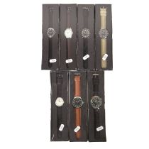 Collection of seven military style watches.